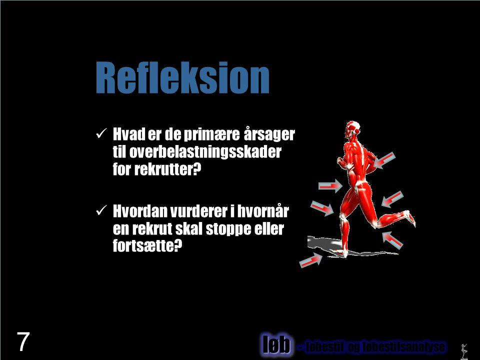 Refleksion Hvad er de primære årsager til overbelastningsskader for rekrutter Hvordan vurderer i hvornår en rekrut skal stoppe eller fortsætte