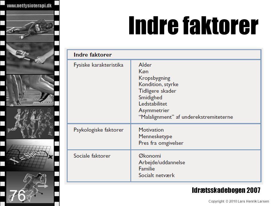 Indre faktorer Idrætsskadebogen 2007
