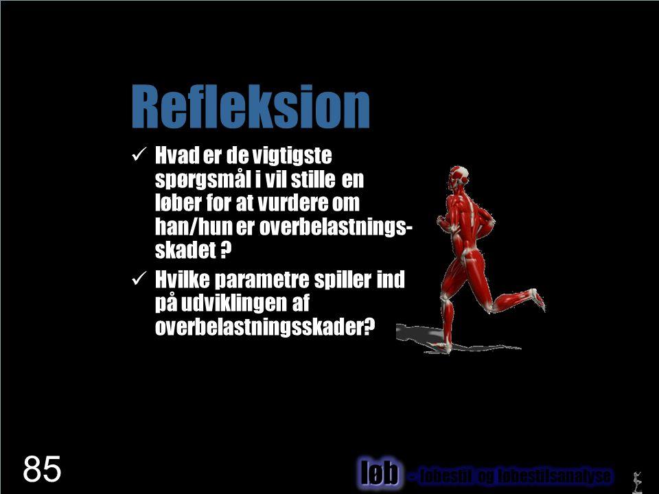 Refleksion Hvad er de vigtigste spørgsmål i vil stille en løber for at vurdere om han/hun er overbelastnings-skadet