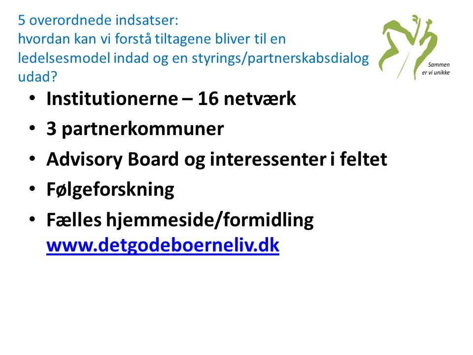 Institutionerne – 16 netværk 3 partnerkommuner