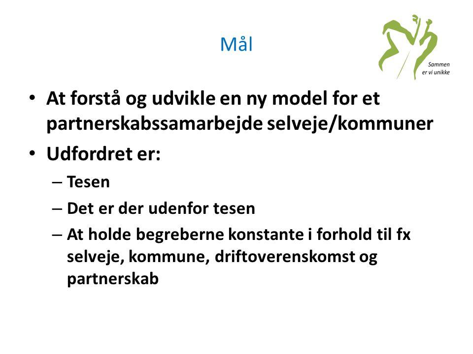 Mål At forstå og udvikle en ny model for et partnerskabssamarbejde selveje/kommuner. Udfordret er: