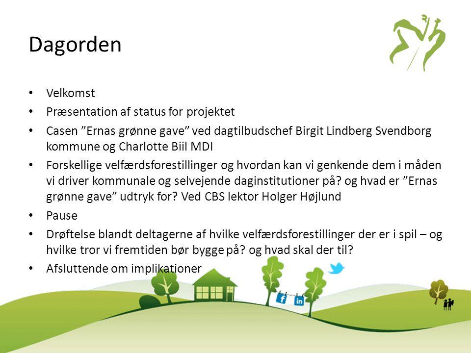 Dagorden Velkomst Præsentation af status for projektet