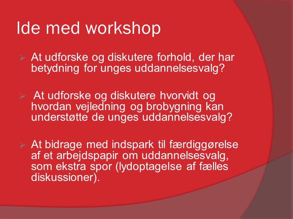 Ide med workshop At udforske og diskutere forhold, der har betydning for unges uddannelsesvalg