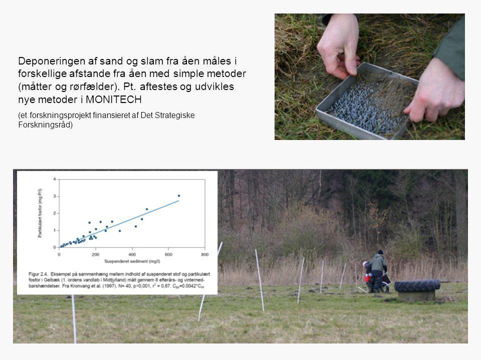 Deponeringen af sand og slam fra åen måles i forskellige afstande fra åen med simple metoder (måtter og rørfælder). Pt. aftestes og udvikles nye metoder i MONITECH