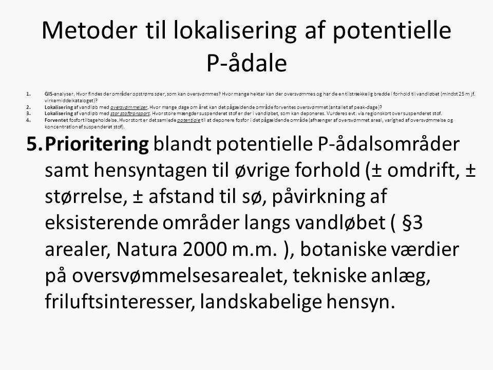 Metoder til lokalisering af potentielle P-ådale
