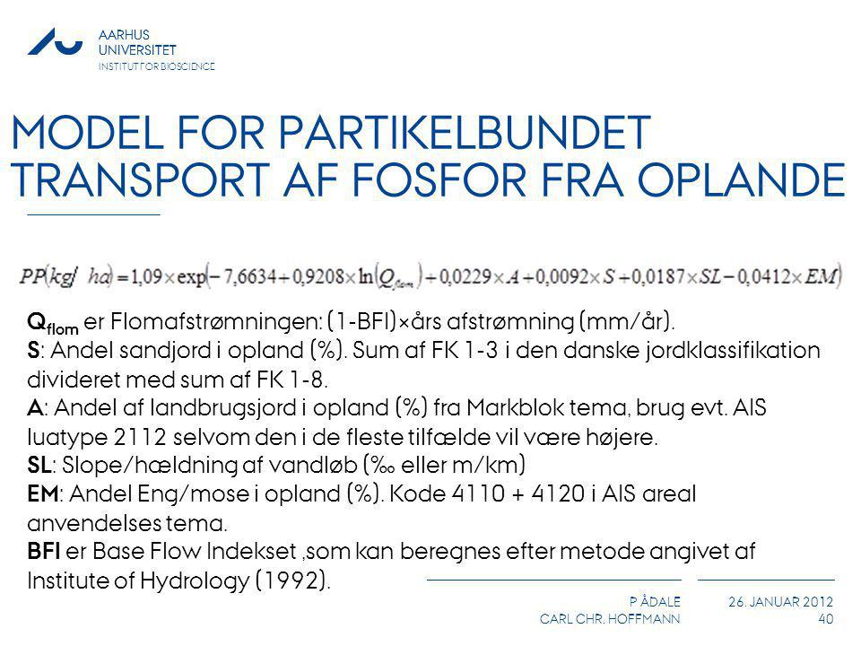 Model for partikelbundet transport af fosfor fra oplande