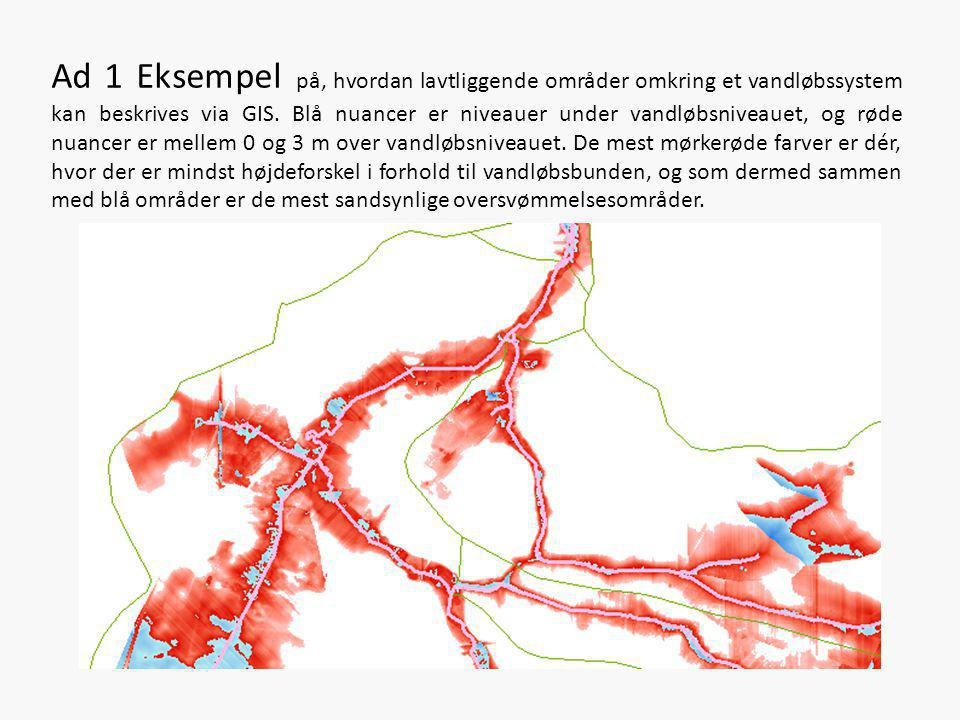 Ad 1 Eksempel på, hvordan lavtliggende områder omkring et vandløbssystem kan beskrives via GIS.