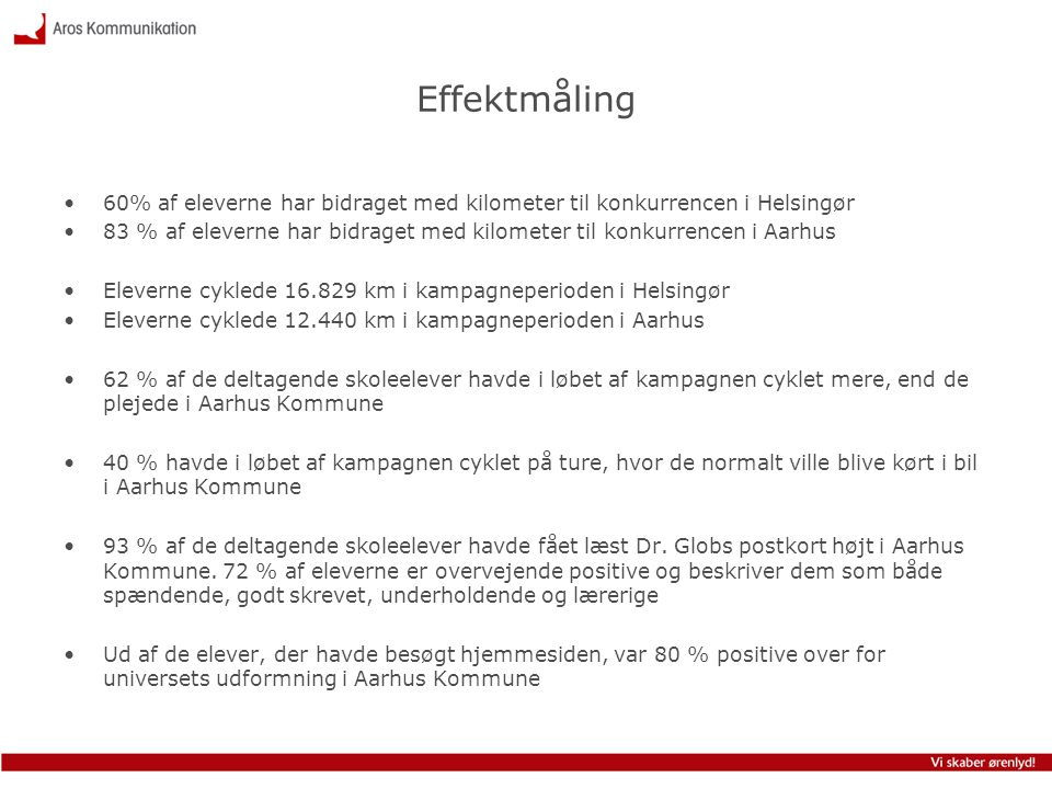 Effektmåling 60% af eleverne har bidraget med kilometer til konkurrencen i Helsingør.