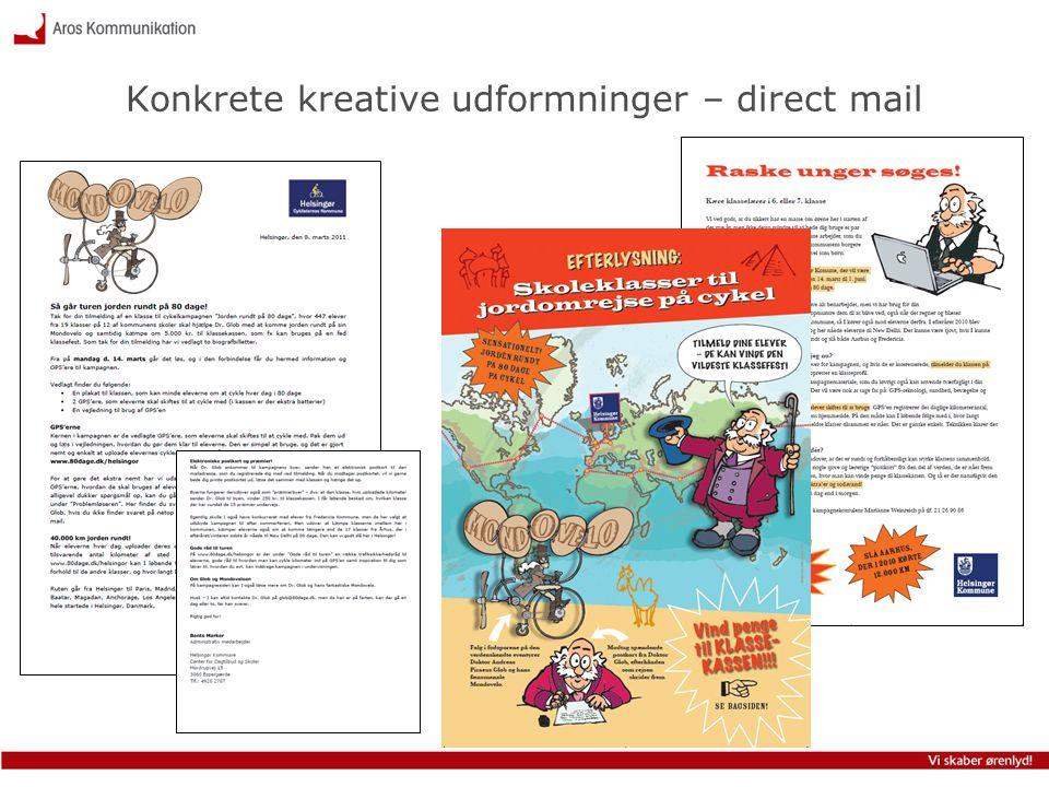 Konkrete kreative udformninger – direct mail
