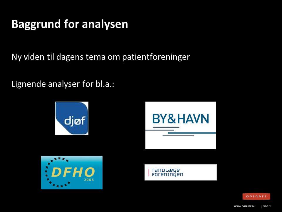 Baggrund for analysen Ny viden til dagens tema om patientforeninger Lignende analyser for bl.a.: