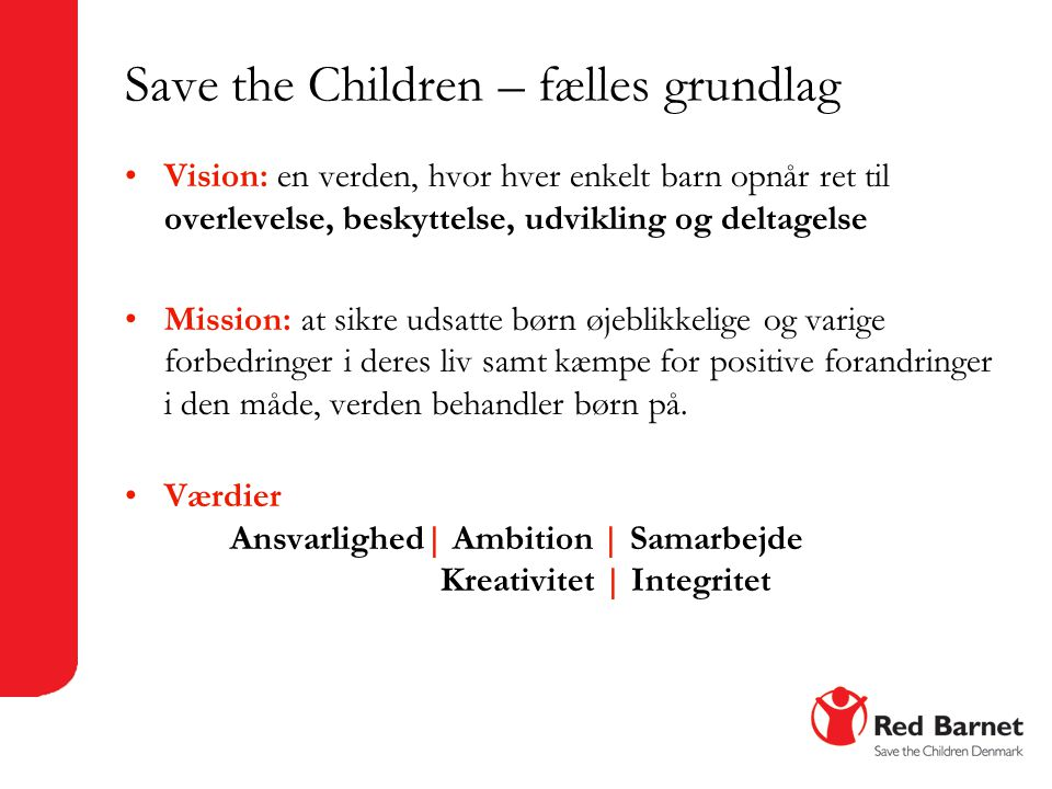 Save the Children – fælles grundlag