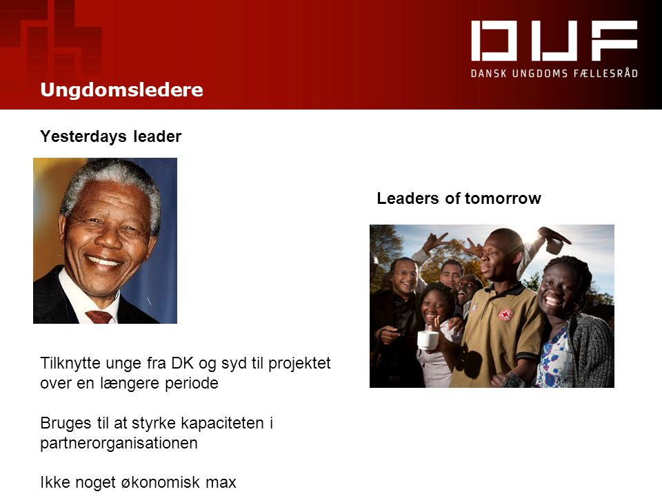 Ungdomsledere Yesterdays leader Leaders of tomorrow