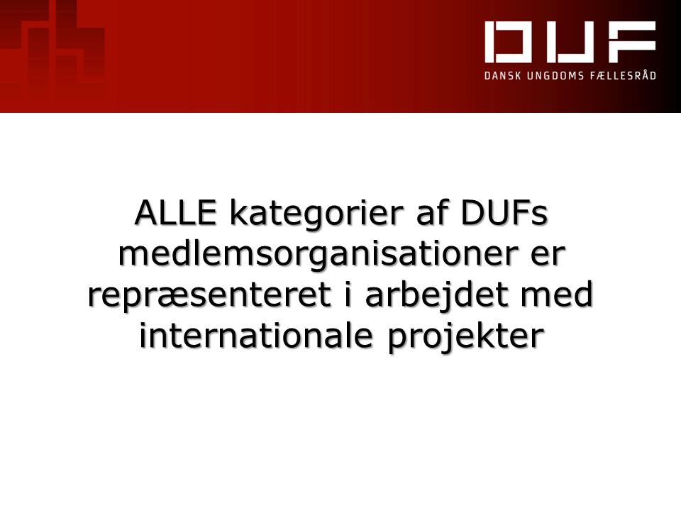 ALLE kategorier af DUFs medlemsorganisationer er repræsenteret i arbejdet med internationale projekter