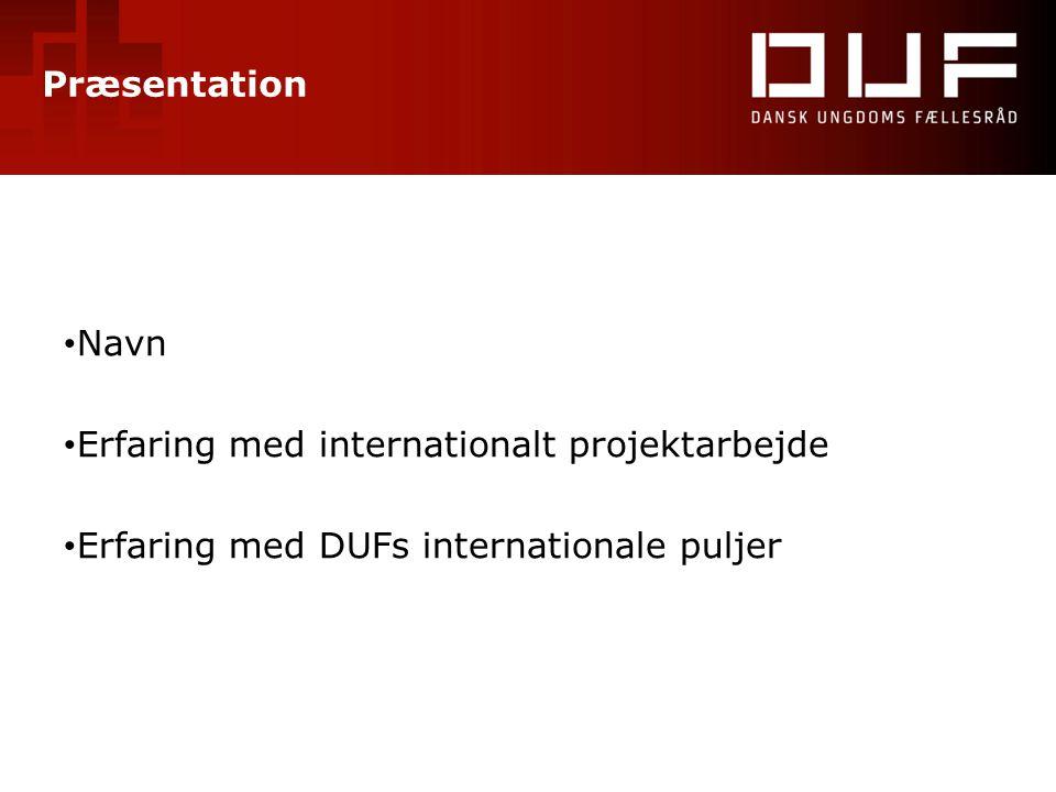 Præsentation Navn. Erfaring med internationalt projektarbejde.