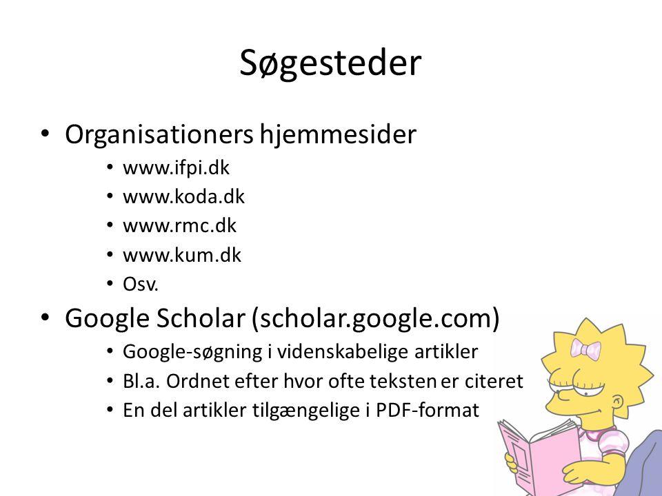 Søgesteder Organisationers hjemmesider