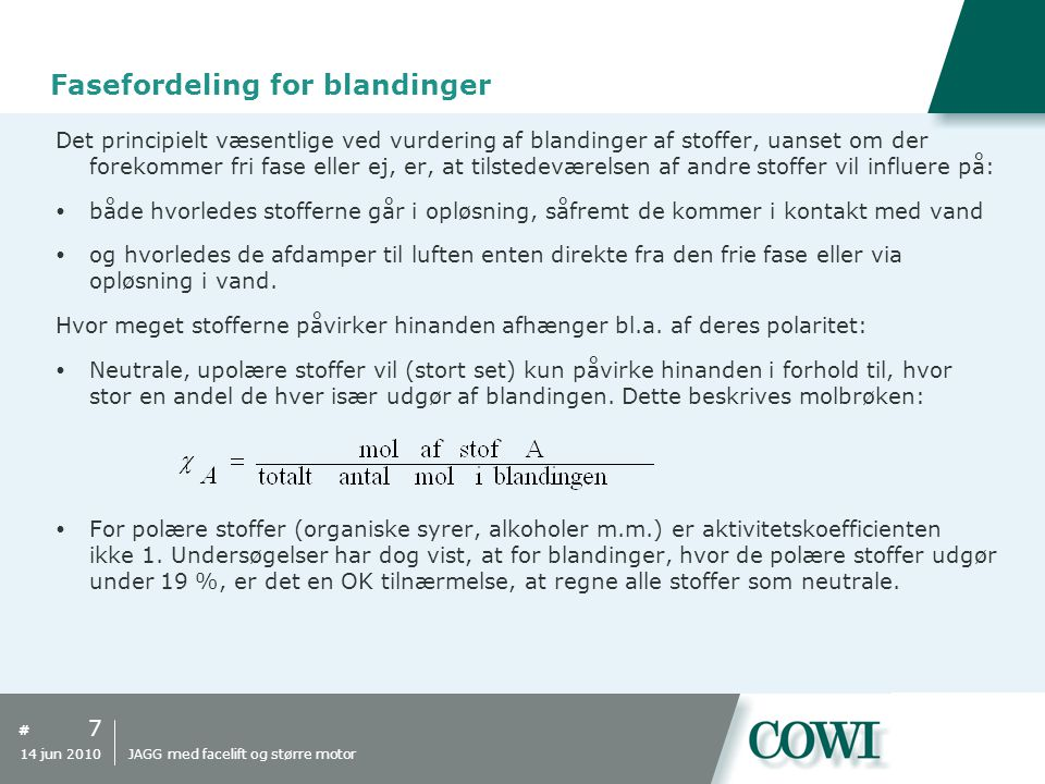 Fasefordeling for blandinger