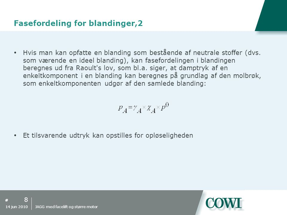 Fasefordeling for blandinger,2