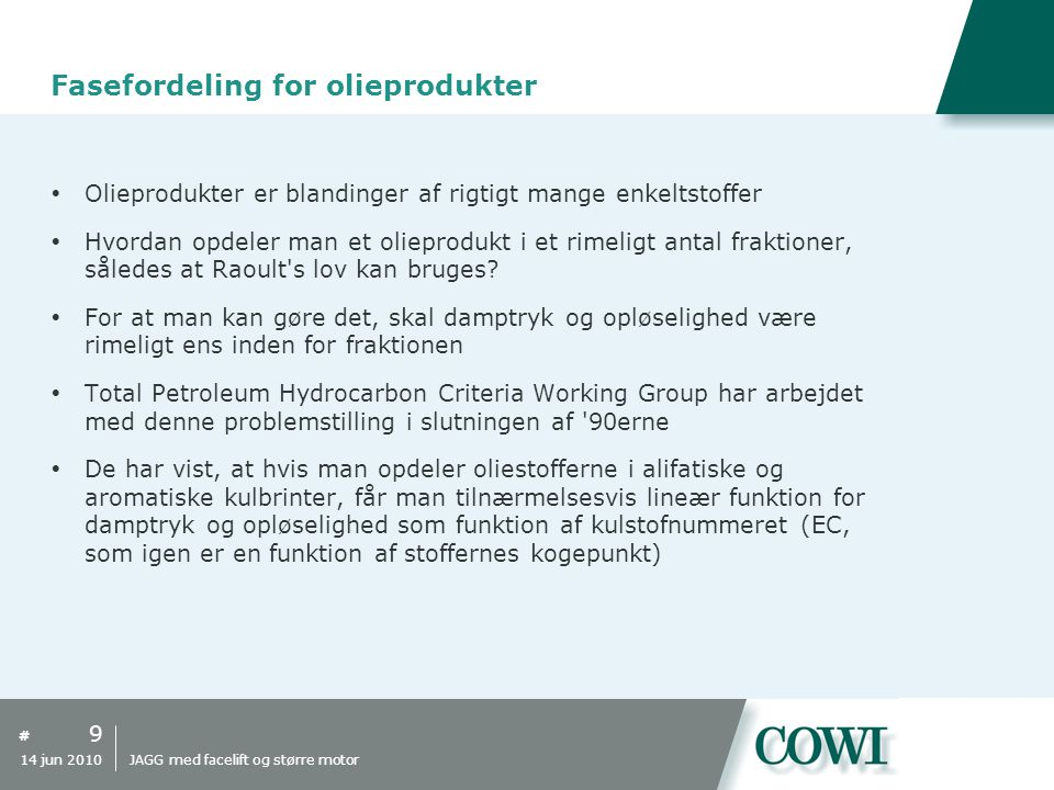 Fasefordeling for olieprodukter