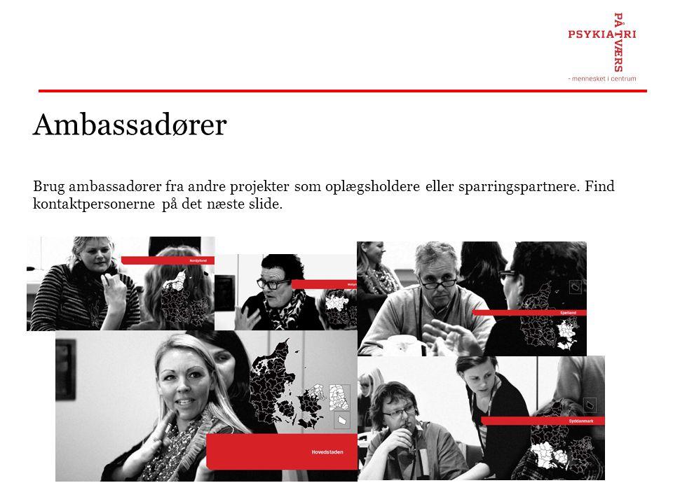 Ambassadører Brug ambassadører fra andre projekter som oplægsholdere eller sparringspartnere.
