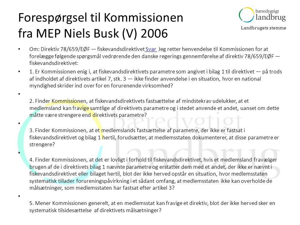 Forespørgsel til Kommissionen fra MEP Niels Busk (V) 2006