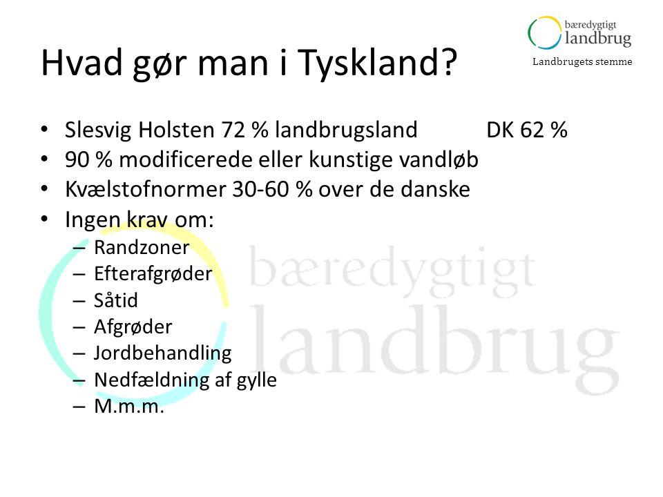 Hvad gør man i Tyskland Slesvig Holsten 72 % landbrugsland DK 62 %