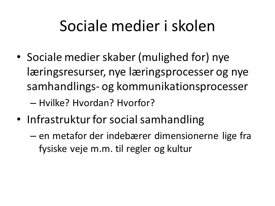 Sociale medier i skolen