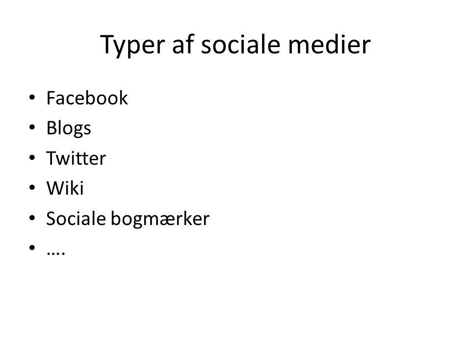 Typer af sociale medier