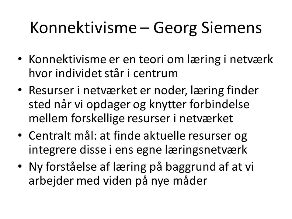 Konnektivisme – Georg Siemens