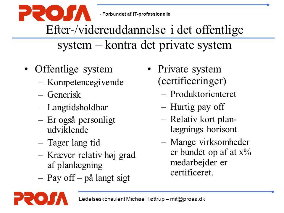 Efter-/videreuddannelse i det offentlige system – kontra det private system