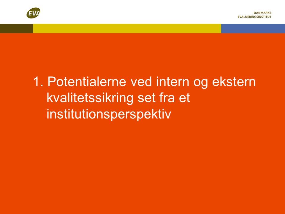 1. Potentialerne ved intern og ekstern kvalitetssikring set fra et institutionsperspektiv