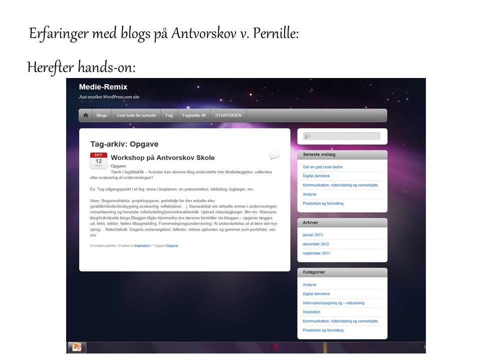 Erfaringer med blogs på Antvorskov v. Pernille: