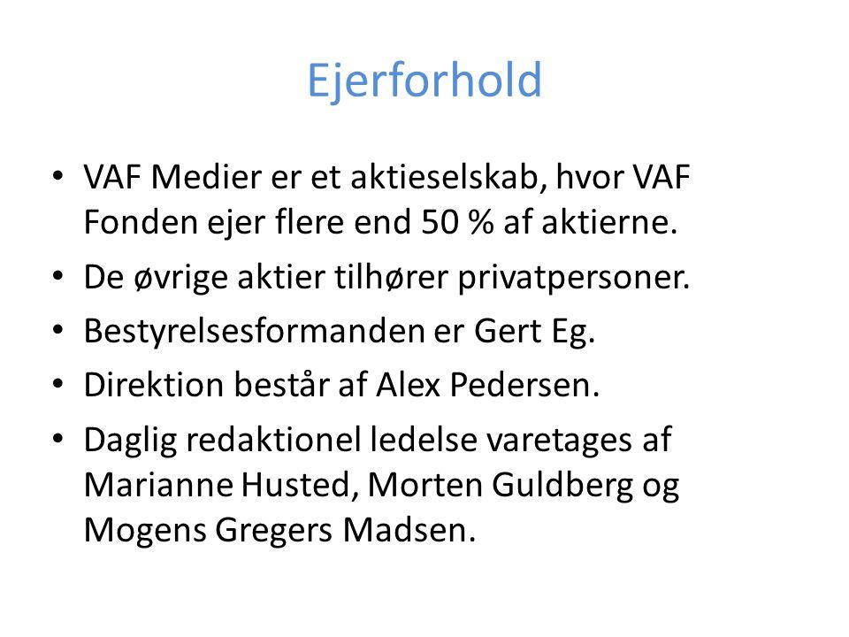 Ejerforhold VAF Medier er et aktieselskab, hvor VAF Fonden ejer flere end 50 % af aktierne. De øvrige aktier tilhører privatpersoner.