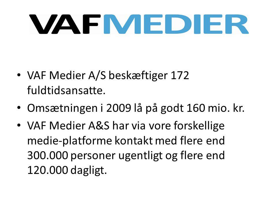 VAF Medier A/S beskæftiger 172 fuldtidsansatte.