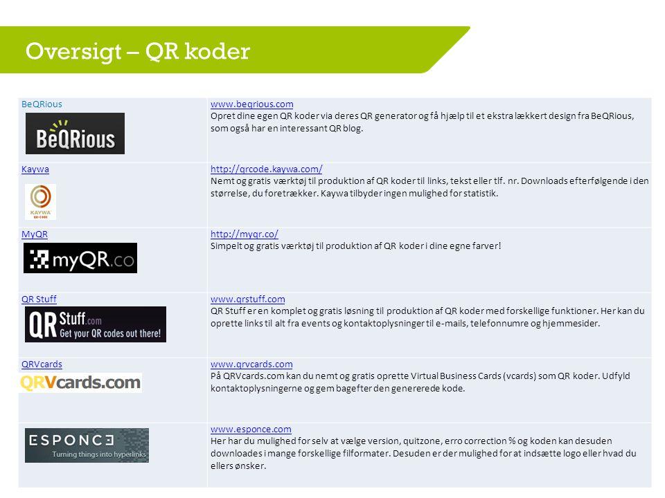Oversigt – QR koder BeQRious www.beqrious.com