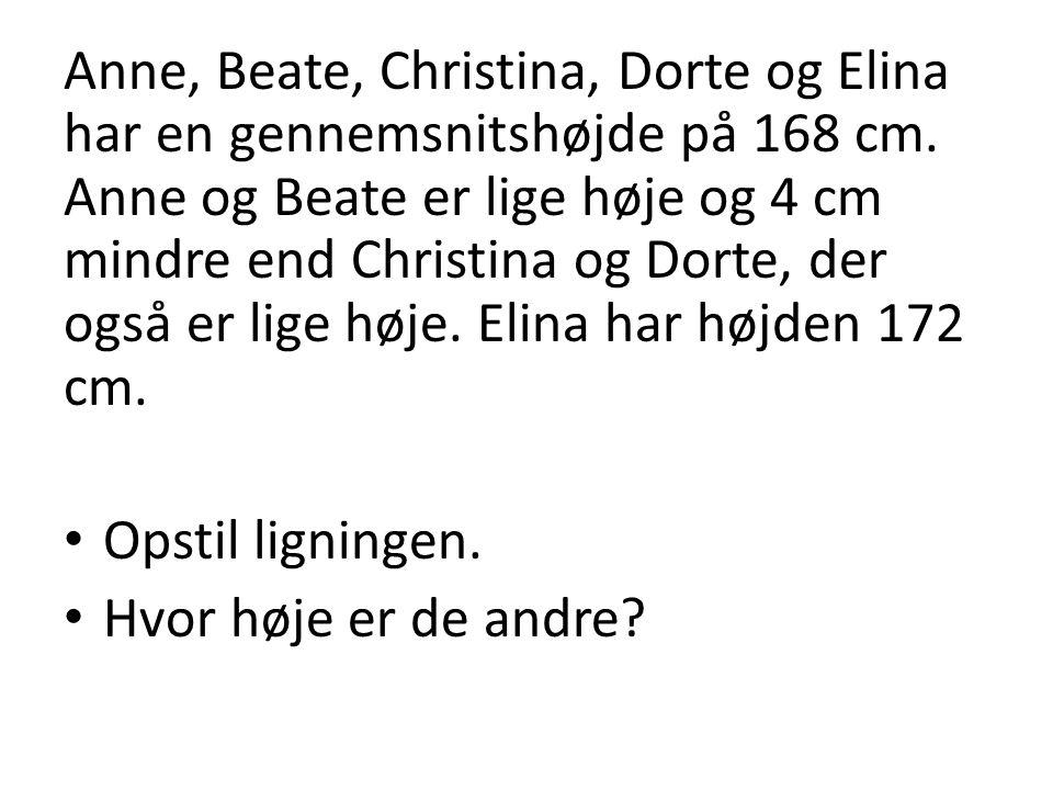 Anne, Beate, Christina, Dorte og Elina har en gennemsnitshøjde på 168 cm. Anne og Beate er lige høje og 4 cm mindre end Christina og Dorte, der også er lige høje. Elina har højden 172 cm.
