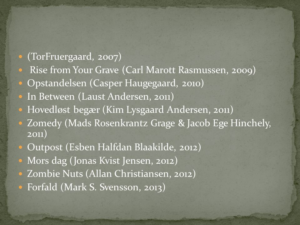 (TorFruergaard, 2007) Rise from Your Grave (Carl Marott Rasmussen, 2009) Opstandelsen (Casper Haugegaard, 2010)