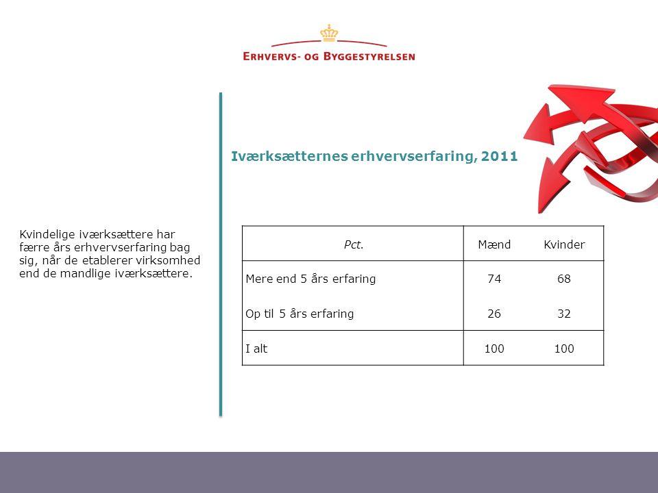 Iværksætternes erhvervserfaring, 2011