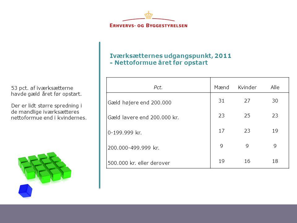 Iværksætternes udgangspunkt, 2011 - Nettoformue året før opstart