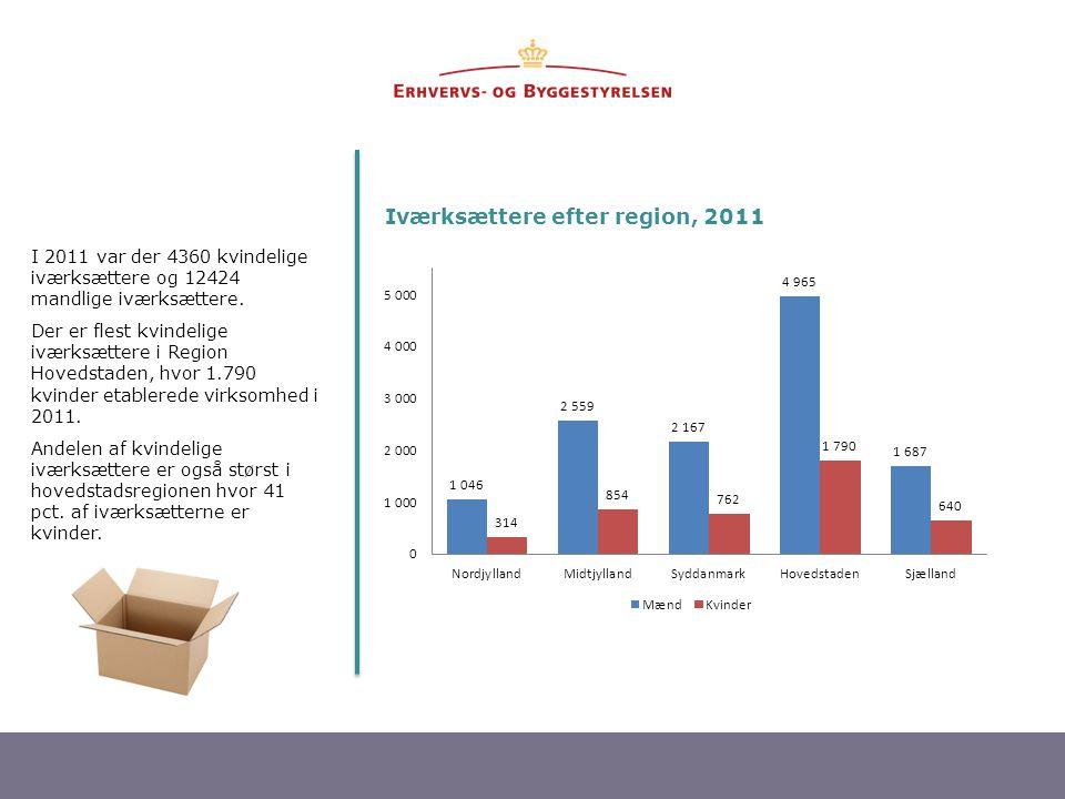 Iværksættere efter region, 2011