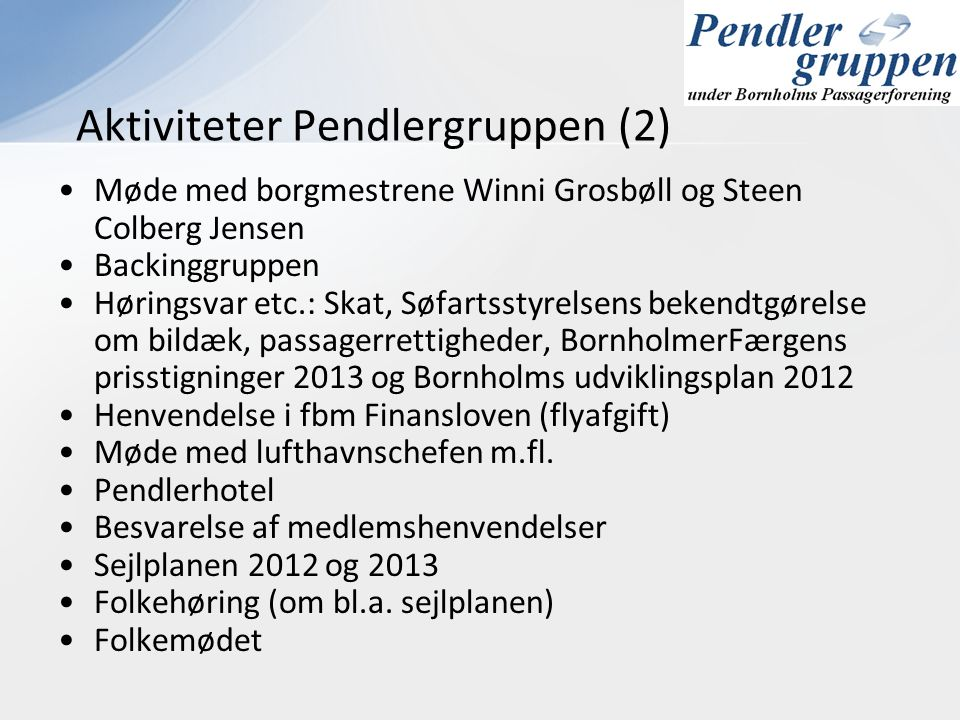 Aktiviteter Pendlergruppen (2)