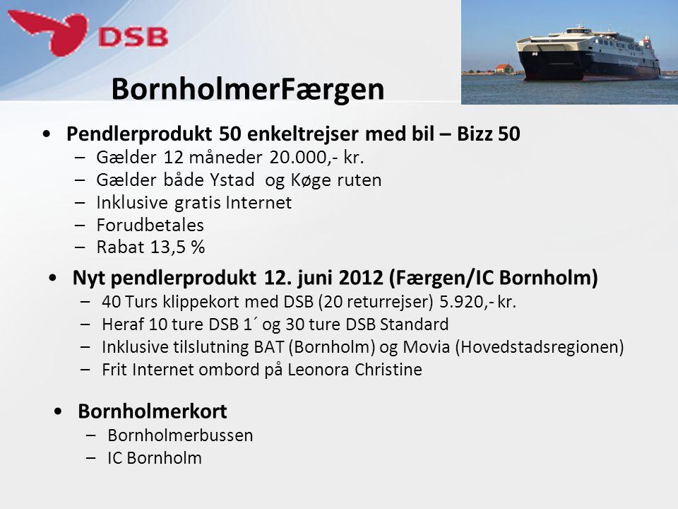 BornholmerFærgen Pendlerprodukt 50 enkeltrejser med bil – Bizz 50