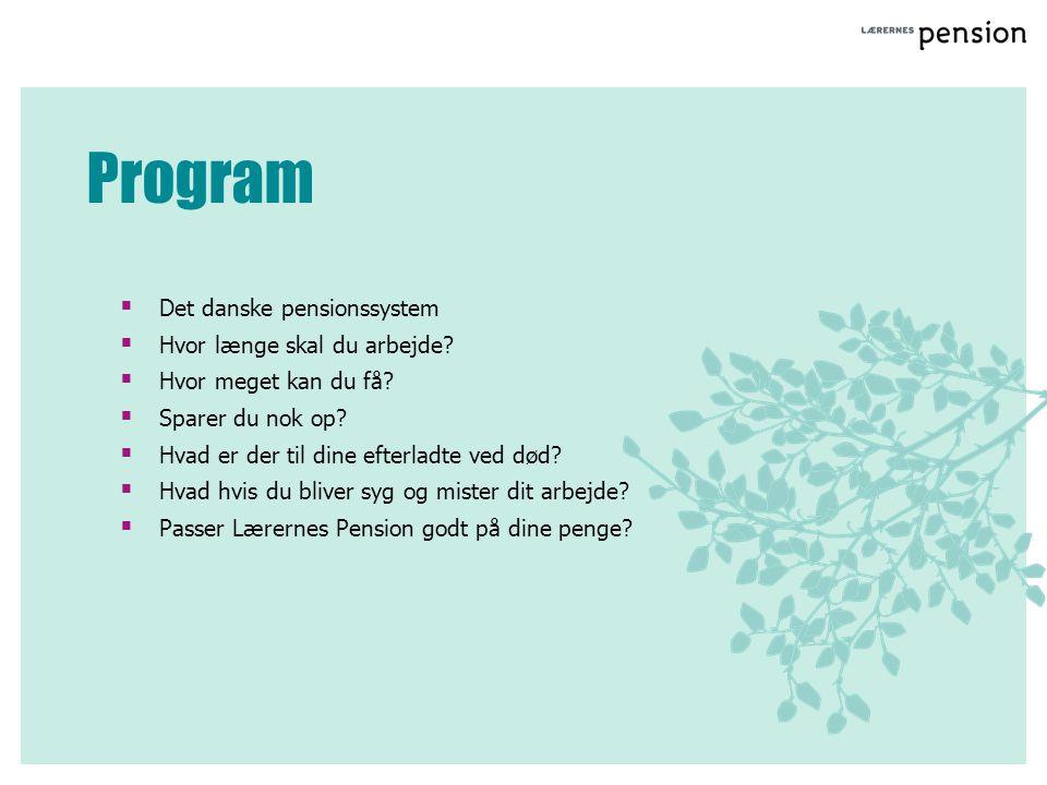 Program Det danske pensionssystem Hvor længe skal du arbejde