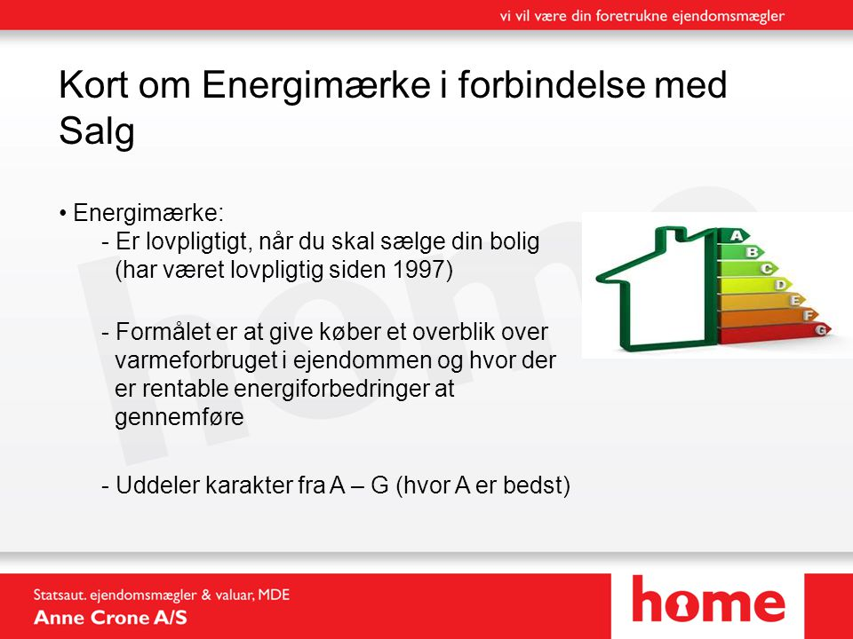 Kort om Energimærke i forbindelse med Salg