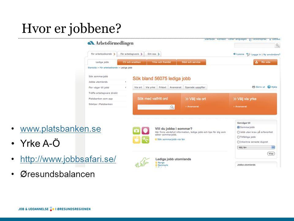 Hvor er jobbene Yrke A-Ö www.platsbanken.se http://www.jobbsafari.se/