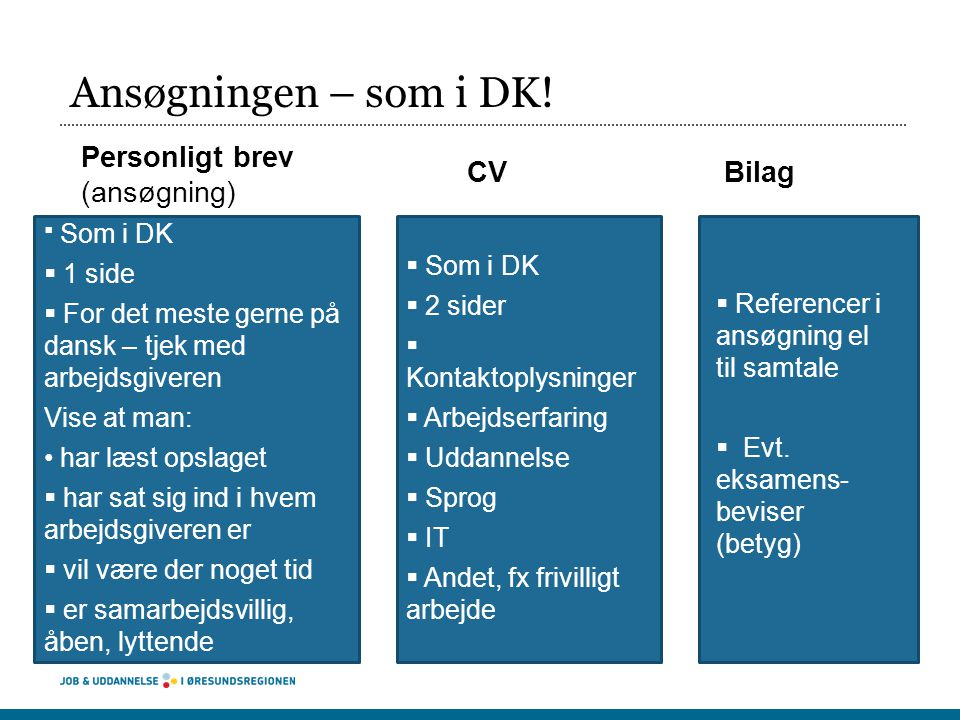 Ansøgningen – som i DK! Personligt brev (ansøgning) CV Bilag 1 side