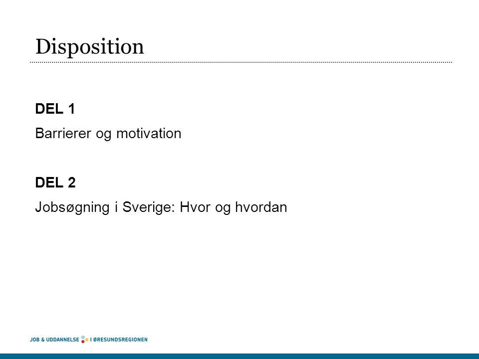 Disposition DEL 1 Barrierer og motivation DEL 2