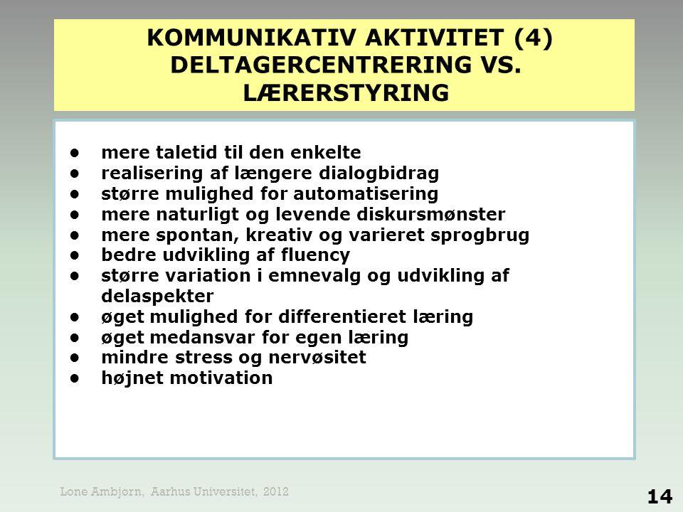 KOMMUNIKATIV AKTIVITET (4) DELTAGERCENTRERING VS. LÆRERSTYRING