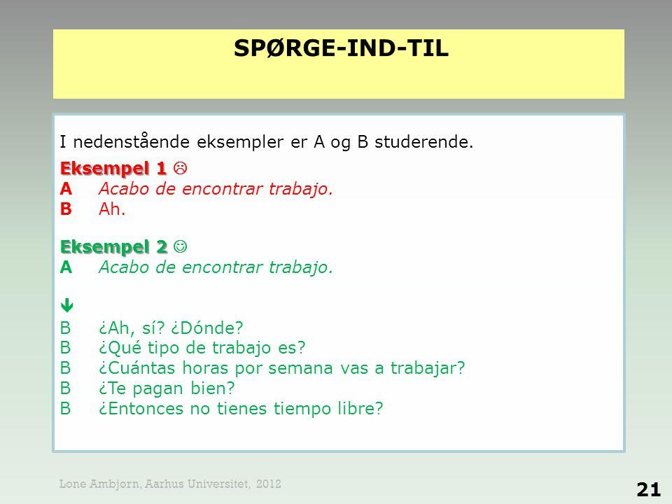 spørge-ind-til I nedenstående eksempler er A og B studerende.