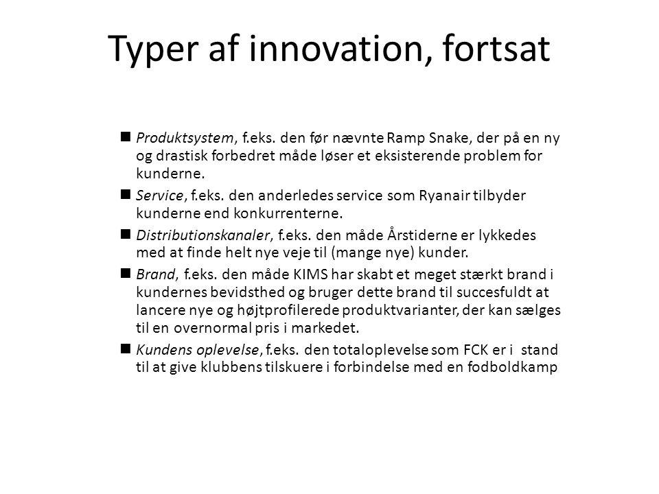 Typer af innovation, fortsat