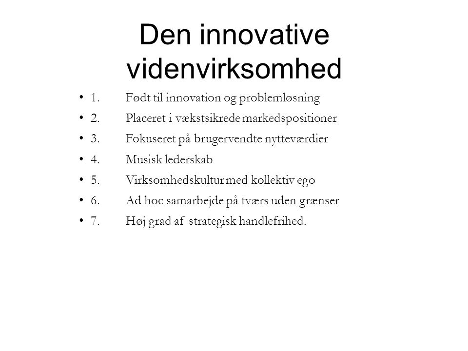 Den innovative videnvirksomhed